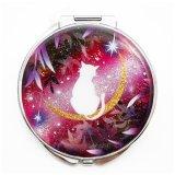 丸ミラー 猫と月〜星に願いを〜赤紫Version