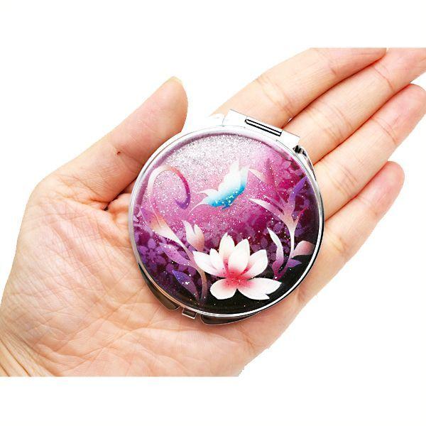 画像3: 丸ミラー 蓮と蝶  銀箔 コンパクトミラー ピンク紫