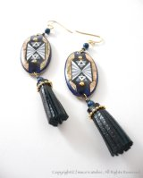 K14gfピアス Leather tassel [Navy×Black] イヤリング可