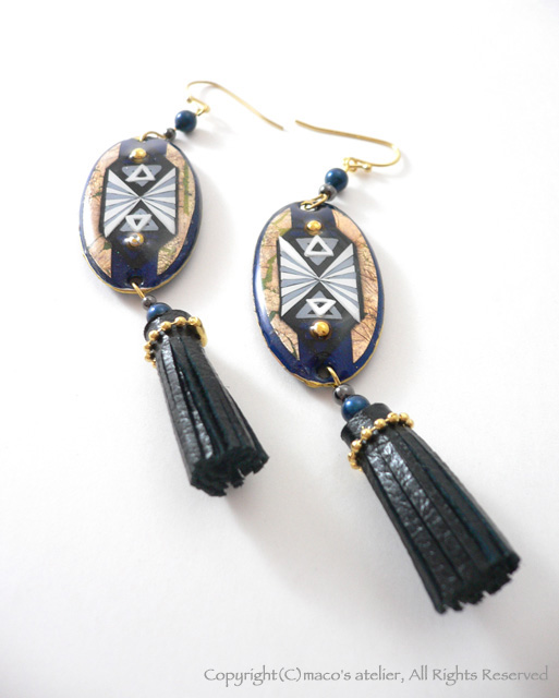 画像1: Leather tassel [Navy×Black]