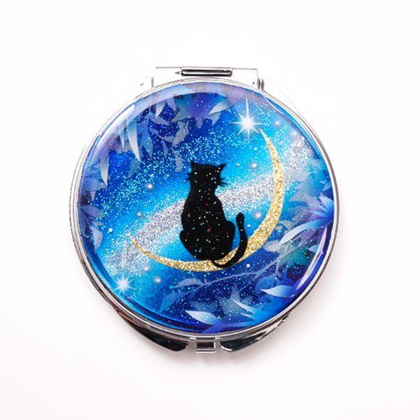 画像1: 丸ミラー 猫と月〜星に願いを〜黒猫Ver.