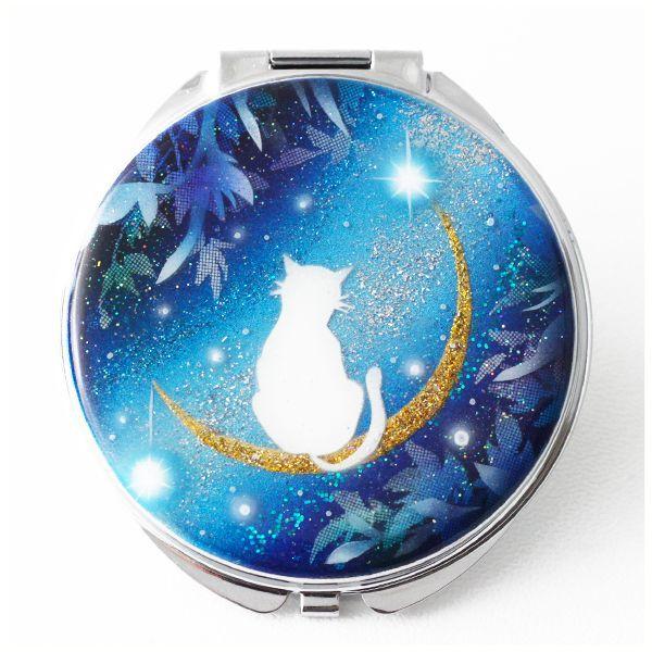 画像1: 丸ミラー 猫と月〜星に願いを〜