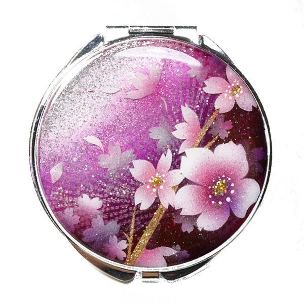 画像1: 丸ミラー 桃舞桜 銀箔 コンパクトミラー