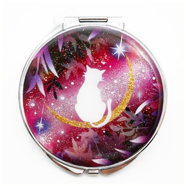 画像1: 丸ミラー 猫と月〜星に願いを〜赤紫Version