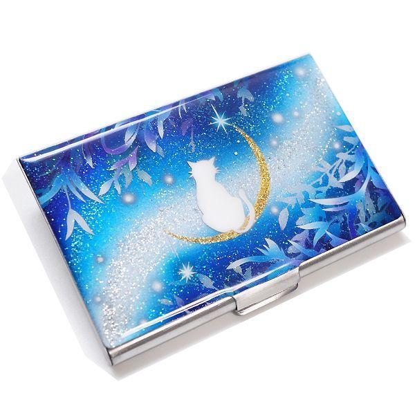 画像2: カードケース 猫と月〜星に願いを〜 銀箔 名刺ケース me2