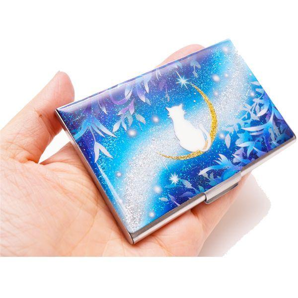 画像4: カードケース 猫と月〜星に願いを〜 銀箔 名刺ケース me2