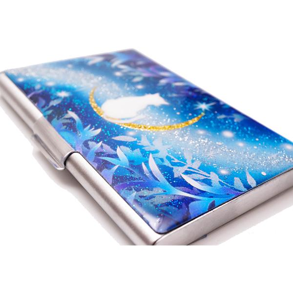 画像5: カードケース 猫と月〜星に願いを〜 銀箔 名刺ケース me2