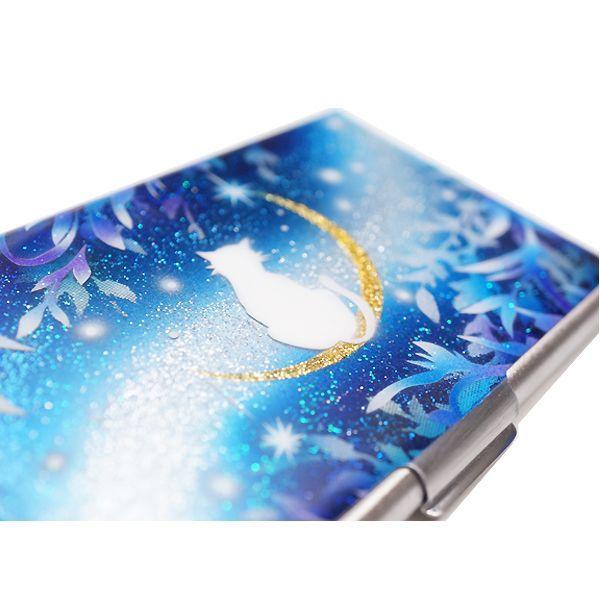 画像3: カードケース 猫と月〜星に願いを〜 銀箔 名刺ケース me2