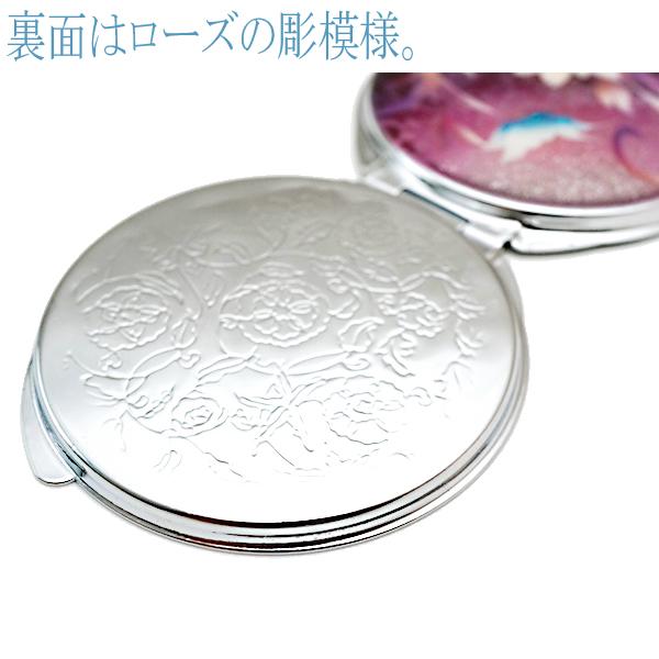 画像4: 丸ミラー 蓮と蝶  銀箔 コンパクトミラー ピンク紫