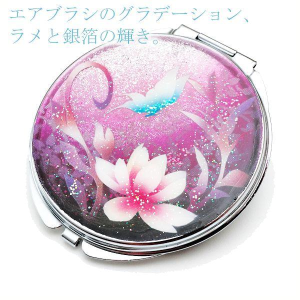 画像2: 丸ミラー 蓮と蝶  銀箔 コンパクトミラー ピンク紫