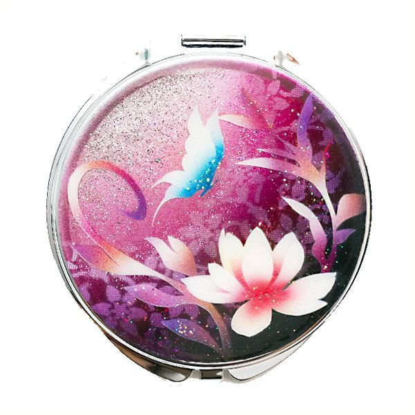 画像1: 丸ミラー 蓮と蝶  銀箔 コンパクトミラー ピンク紫