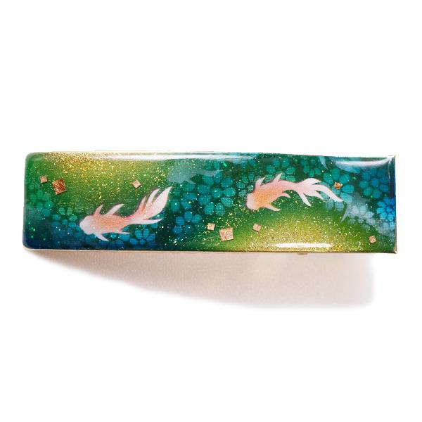 画像2: ヘアクリップ 金魚 緑 金箔