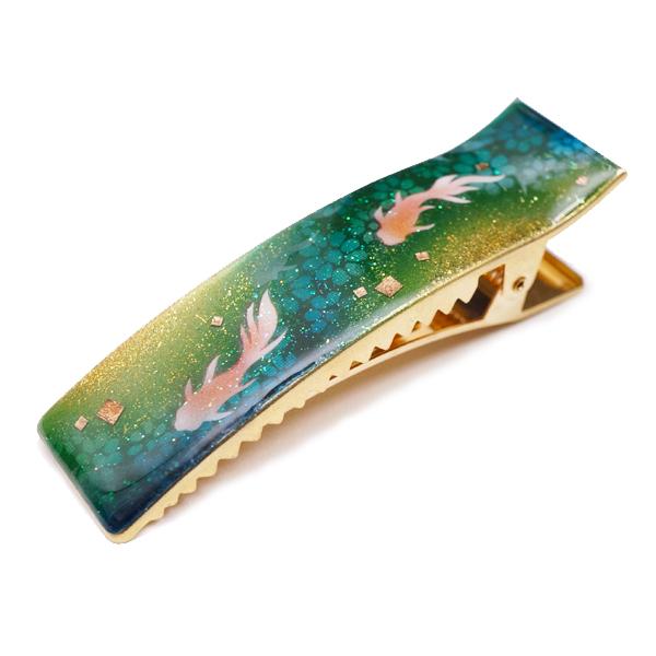 画像1: ヘアクリップ 金魚 緑 金箔