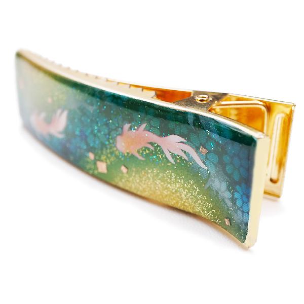 画像4: ヘアクリップ 金魚 緑 金箔