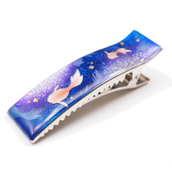 画像1: ヘアクリップ 金魚 青 銀箔