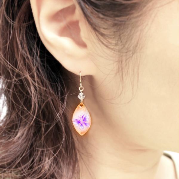 画像4: ピンク紫 蝶リーフ チタン ピアス [イヤリング可]