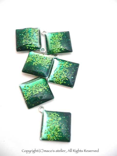 画像1: グリーンダイヤ パーツ6個入り